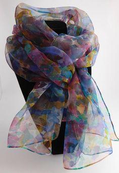 714010e4f4cb Etole écharpe foulard en Mousseline de Soie peint main Paysage Dans La Brume,  Foulard En