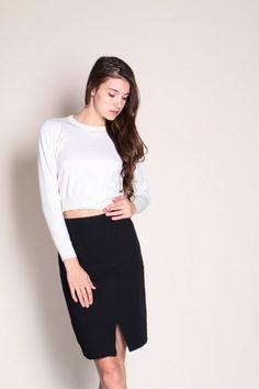 Slit Pencil Skirt (Black)  $36