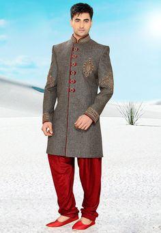 Buy Dark Grey Ghicha Pure Silk Readymade Sherwani with Patiala online, work: Embroidered, color: Dark Grey, usage: Wedding, category: Mens Wear, fabric: Silk, price: $464.00, item code: MCD2476, gender: women, brand: Utsav
