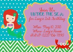 The Little Mermaid Ariel Party Invitation by LoveLucyBoutique, $12.00