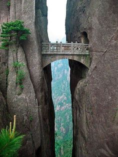 The Bridge of Immortals, Huangshan, China.   One of the most amazing things men made.