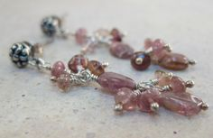 Dusty rose pink tourmaline gemstones Balinese oxidized sterling silver flower post earrings Casual wear sterling silver jewelry - pinned by pin4etsy.com