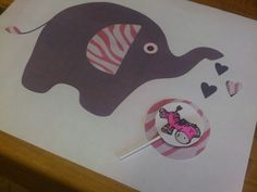 Elephant & zebra pink and gray baby shower