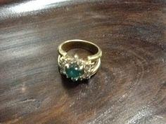 CLASSICS HAKOZAKI -Jewelry- / 肥前屋質店: 485:中古:カボション エメラルド 1.23ct ブラウンダイヤ取巻き K18 リング #12.5...