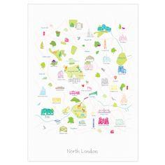 Map of North London Art Print (Various Sizes) - Holly Francesca