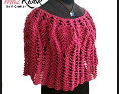 Crochet poncho pattern Fringe poncho PDF Rustic Poncho Wedding