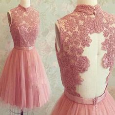 2016 popular dark pink lace high neck unique style charming freshman homecoming prom gown dress The dark pink lace homecoming dresses are fully lined, 8 bones in the bodice, chest pad in the bust, lac