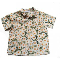 DAISY SHIRT CACHAREL ($45) ❤ liked on Polyvore featuring tops, shirts, crop top, cacharel, daisy print crop top, shirt top, cotton shirts and summer shirts