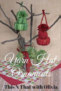 DIY Yarn Hat Ornaments   ThisNThatwithOlivia.com