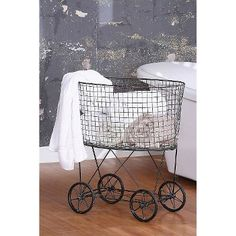 Vintage Look Metal Laundry Basket with Wheels by Creative Co-Op. Posh Equestrian: Your source for Western Boho Tribal Festival Vintage Cowgirl Equestrian Horse Shabby Chic, Shabby Vintage, Vintage Metal, Vintage Style, Vintage Inspired, Vintage Linen, Rustic Style, Metal Laundry Basket, Laundry Cart