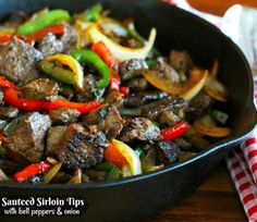 This Sauteed Sirloin Tips with Bell Peppers and Onions is a versatile skillet meal that's sure to please the steak eaters at your table. Steak Tips, Sirloin Tips, Beef Tips, Sirloin Steaks, Onion Recipes, Steak Recipes, Cooking Recipes, Sirloin Recipes, Pepper Recipes