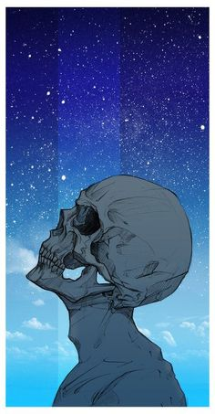 One of my more freestanding art pieces, Mister Brightside depicts a face as a skull, staring up into the light of the heavens. Arte Dope, Dope Art, Dark Fantasy Art, Psychedelic Art, Art Sketches, Art Drawings, Arte Obscura, Skeleton Art, Skull Wallpaper