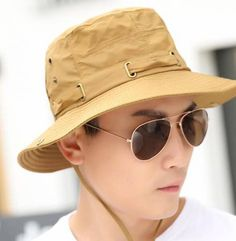 Khaki bucket hat with string for men outdoor sun protection hats