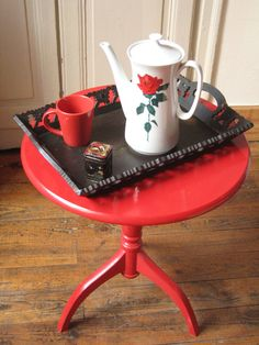 Cafetière en porcelaine Creidlitz Bavaria / Théière haute en céramique / Motif rose rouge / Verseuse thé café rétro / Vintage / Boho chic