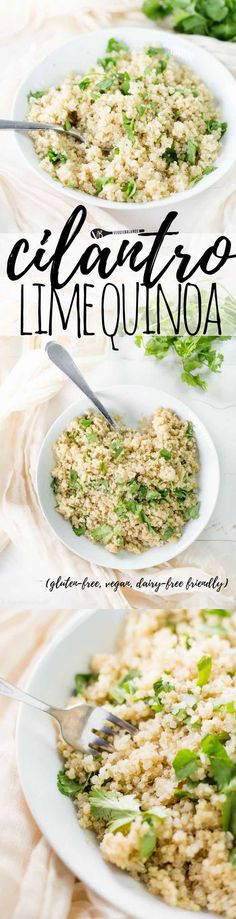 Cilantro Lime Quinoa recipe will have your taste buds singing and plays well with others without the gluten. devour as is or dress it up! Healthy Side Dishes, Side Dish Recipes, Veggie Recipes, Easy Dinner Recipes, Easy Recipes, Vegetarian Recipes, Easy Meals, Healthy Recipes, Veggie Meals