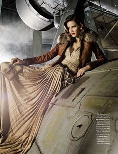 Flavia de Oliveira 'Greta Garbo' Elle September 2009. Still one of the greatest aviation fashion photo shoots http://www.fashionising.com/trends/b--Style-inspiration-aviation-Amelia-Earhart-2797.html