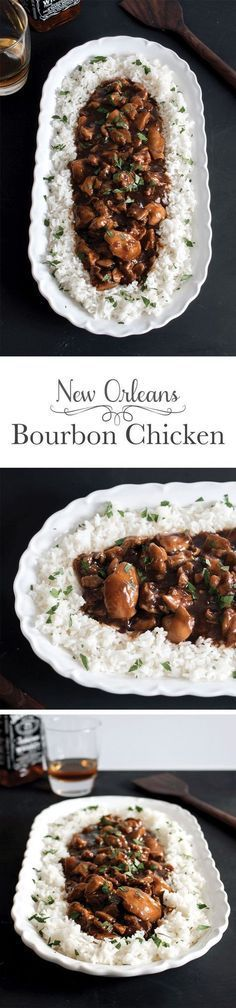 Straight off of Bourbon Street in New Orleans this tender bourbon chicken is covered in a slightly sweet sauce with a little kick. It's a true taste of the South you won't be able to resist. There's even instructions for making it in the slow cooker! Turkey Recipes, New Recipes, Dinner Recipes, Cooking Recipes, Favorite Recipes, Healthy Recipes, Recipies, Cajun Recipes, Donut Recipes