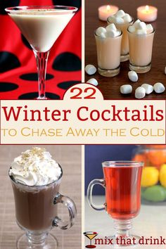 Winter cocktails lean toward hot drinks that feel fortifying and comforting - less fruit, more chocolate, cream and coffee! Check out these selections of both classic and less well-known winter cocktails.