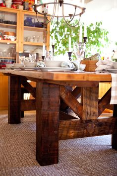 My apologies for the break in posts. I came down with some flu-like bug this past week and it's been rather energy draining! At any rate, here is my harvest table setting for this thanksgivin… Rustic Table, Farmhouse Table, Rustic Kitchen, Farmhouse Chic, Rustic Furniture, Diy Furniture, Plywood Furniture, Furniture Design, Dining Furniture