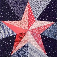 Barbara Brackman's MATERIAL CULTURE features a link to this free pattern. Star Quilt Blocks, Star Quilt Patterns, Paper Piecing Patterns, Star Quilts, Quilting Projects, Quilting Designs, Quilting Tips, Five Pointed Star, Quilt Of Valor