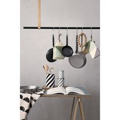 Black Leather Clothes/Pans Rack by Ferm Living. Browse all by Ferm Living and other modern decor brands at Envilu. Deco Design, Design Shop, Kitchen Interior, Kitchen Design, Room Kitchen, Mad About The House, House Doctor, Tin Boxes, Kitchens