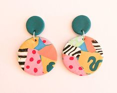 Handmade Polymer Clay Earrings A warm jade stud with liquorice dangles. Polymer Clay Crafts, Handmade Polymer Clay, Polymer Clay Jewelry, Diy Clay Earrings, Earrings Handmade, Handmade Jewelry, Hoop Earrings, Ceramic Jewelry, Wire Jewelry