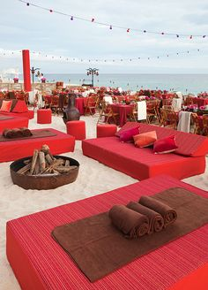 A lounge creates an intimate space where guests can relax, drink delicious cocktails and mingle into the early morning hours. Destination Weddings, Beach Wedding Ideas