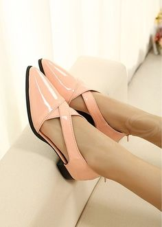 Pure Color and Cross-Strap Design Flat Shoes