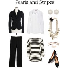 pearls and stripes...a classic look.  nice work outfit.