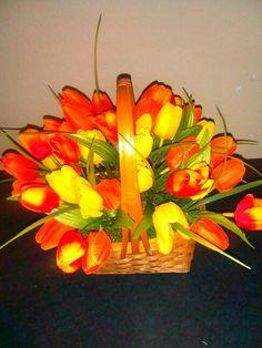 Tulip basket arrangements