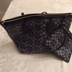 Coach Handbag Purple and grey handbag with attached mini bag. New no tags Coach Bags Shoulder Bags