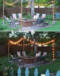 10 Creative DIY Patio Lighting designs you might consider for your backyard spaces Diy Fire Pit, Fire Pit Backyard, Backyard Patio, Backyard Landscaping, Backyard Ideas, Firepit Ideas, Landscaping Ideas, Patio Ideas, Sloped Backyard
