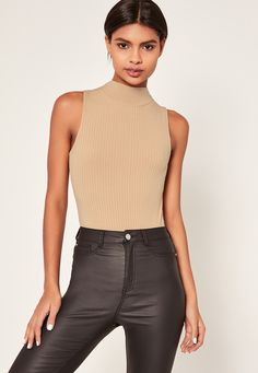 Missguided - Nude Ribbed High Neck Bodysuit