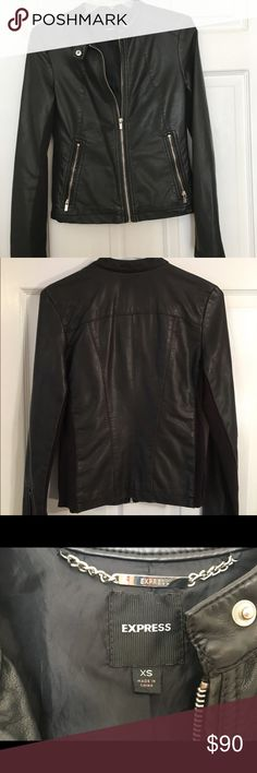 Express black faux leather jacket Beautiful faux leather jacket. Zips up the front with one snap at collar. On the sides and inside of arms is a ribbed cotton fabric. Helps make for a perfect fit! Only worn a few times and in great condition. Open to offers. Express Jackets & Coats