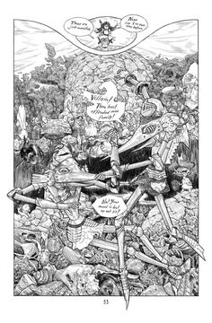 Cursed Pirate Girl page by Jeremy Bastian - Sir Halek and Sir Haftu (The Swordfish) brothers in argument.