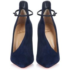 christian louboutin, ankle wrap shoes, suede shoes and ankle wrap pumps Navy Heels, Navy Blue Shoes, Black Heels, Wrap Shoes, Ankle Strap Shoes, Ankle Heels, Zapatos Shoes, Shoes Heels, High Heels