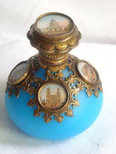 Antique Grand Tour Blue Opaline Perfume Scent Bottle With 5 Miniatures   c. 1850