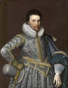 Sir Rowland Cotton, Kt. / in 1618 by Paul Van Somer.  (baptized 29 January 1581 – died 22 August 1634) English politician, sat in the House of Commons at various times between 1605 and 1629. Son of William Cotton, London draper. Matriculated from St John's College, Cambridge 1596; admitted at Lincoln's Inn 1599.  Succeeded his father 1607, inheriting estates in Shropshire and Staffordshire. Lived at Bellaport Hall, Norton in Hales, Shropshire. Married 2x; no issue.