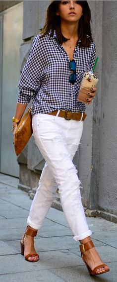 White denim + plaid blouse - tan shoes accesories