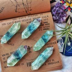 Double Terminated Fluorite Wands✨ just added online! *:・✧Green Fluorite adds growth & nature energies to the properties of Fluorite. It clears negative energy from any environment & brings cleansing, renewal, & freshness to the chakras. It inspires new ideas, originality & quick thinking. ✨ www.shopcrystaltribe.com ✨