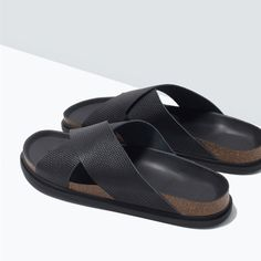 Image 3 of LEATHER CROSS-OVER SANDAL from Zara