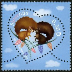 ◇Slovenia 2010 Love - Squirrels in Love Commemorative Stamps, Love Stamps, Penny Black, Stamp Collecting, Mail Art, Form, Postage Stamps, Paper Dolls, Print Patterns