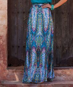 Take a look at the Blue & Pink Mosaic Maxi Skirt on #zulily today!
