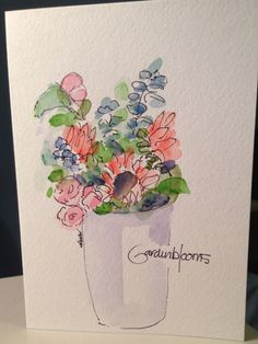 Beautiful Blooms Watercolor Card by gardenblooms on Etsy, $4.00