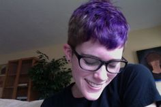 short black and purple pixie cut