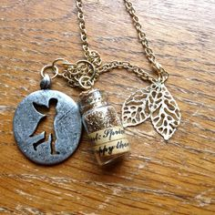 Tinkerbell Charm Necklace Tinkerbell Pendant by ElizabethsTrinkets
