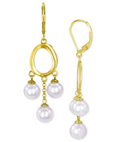 Majorica Pearl Earrings, 18k Gold On Sterling Silver Organic Man-Made Pearl Earrings