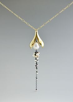 Split Pod Necklace: Catherine Grisez: Gold, Silver, & Pearl Necklace | Artful Home
