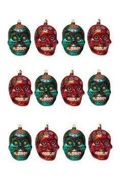 "4.25"" Glass Skull Ornaments - 12-Piece Set"