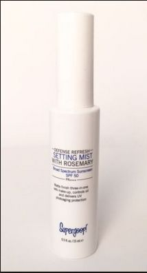 Supergoop! Defense Refresh Setting Mist SPF 50 in sample size. Currently have 2.
